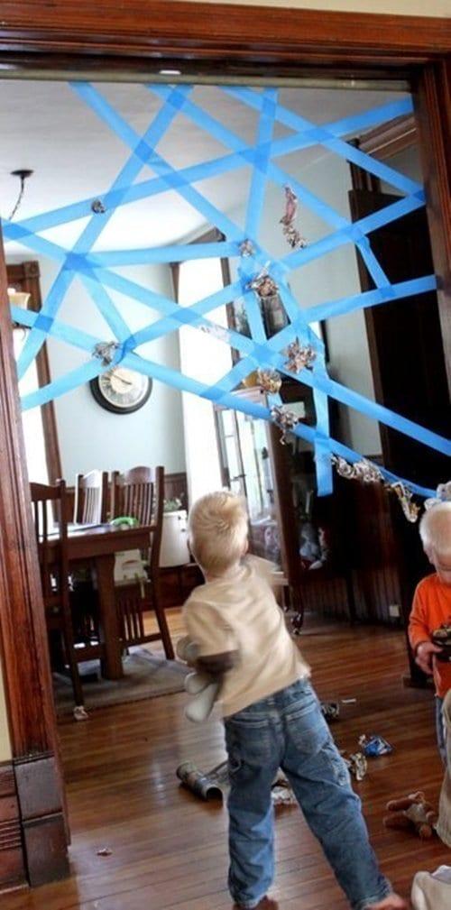 painters tape spiderweb