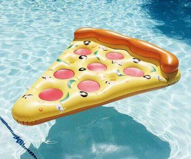 pizza slice pool float yellow