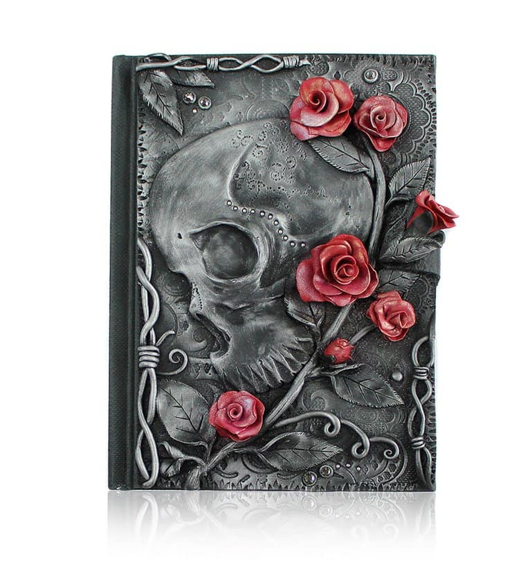 polymer-clay-book-covers-by-aniko-kolesnikova-skull