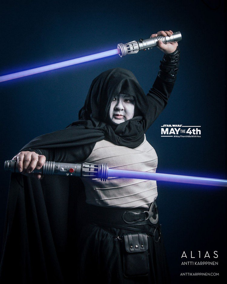 purple light saber woman