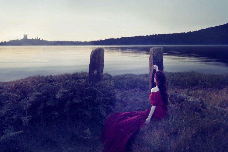 red dress woman castle lake