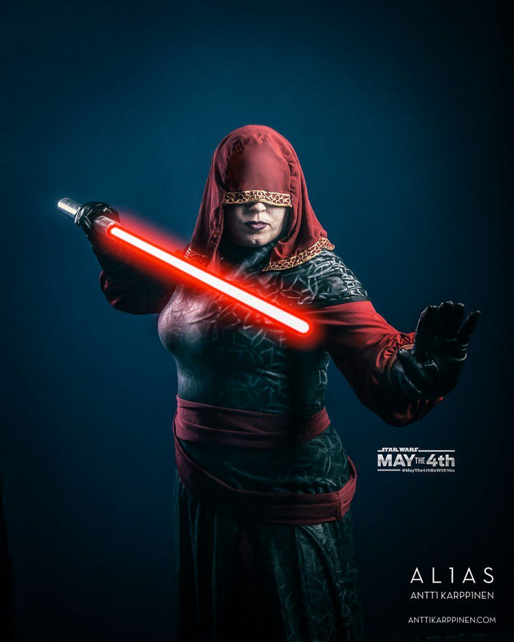 red light saber woman