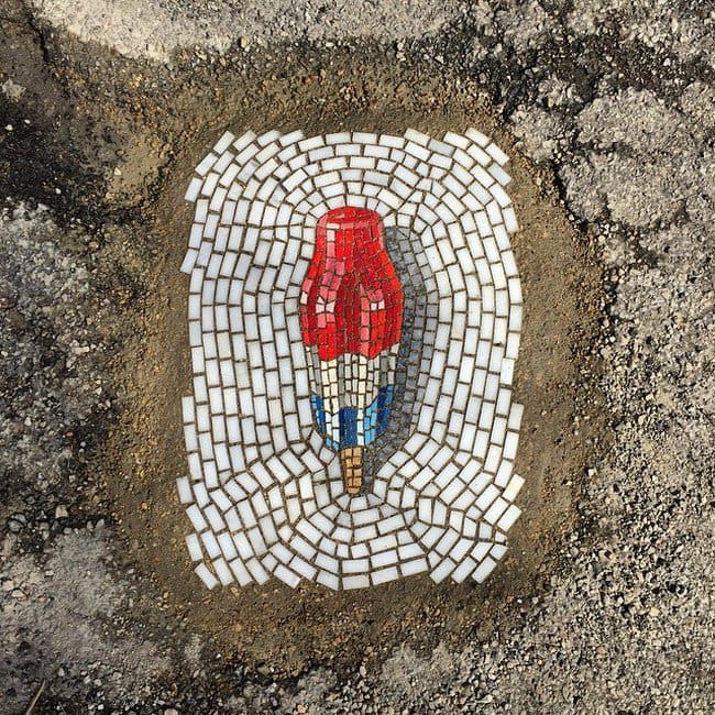 red white blue pothole ice cream above