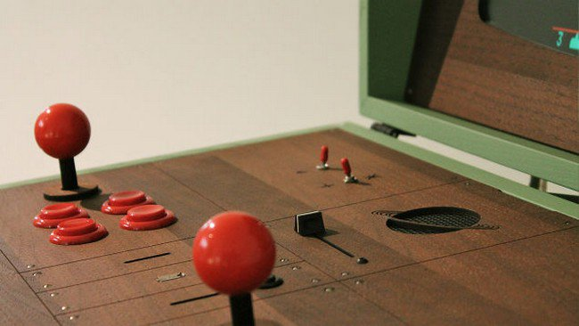 retro gaming cabinet joysticks