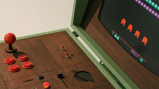 retro gaming cabinet up close