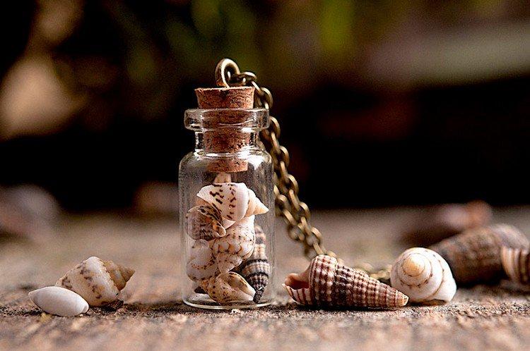 sea shells bottle necklace
