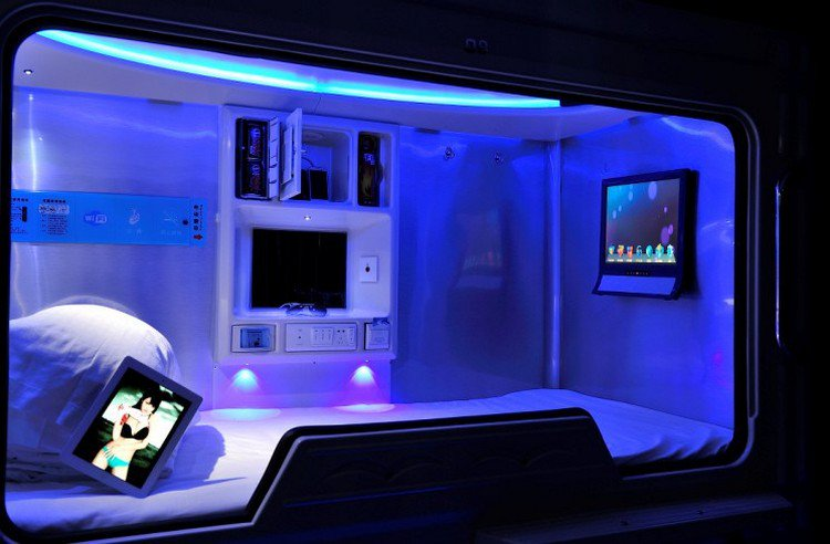 space hotel blue bed