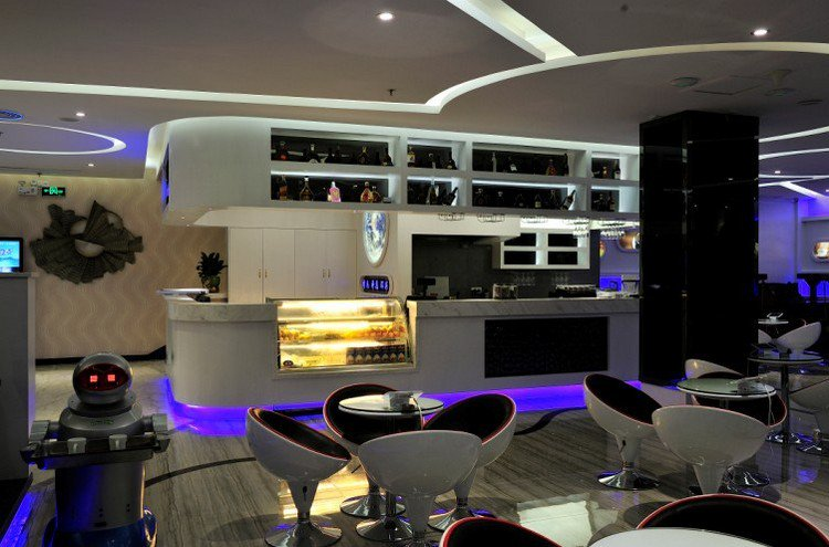 space hotel reception lounge