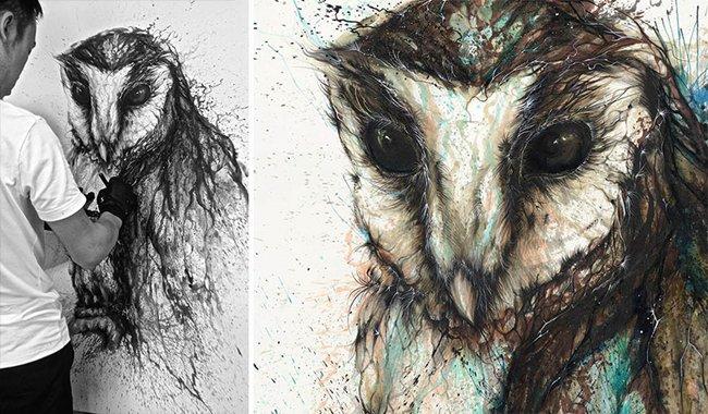 splatter-artist-hua-tunan-owl