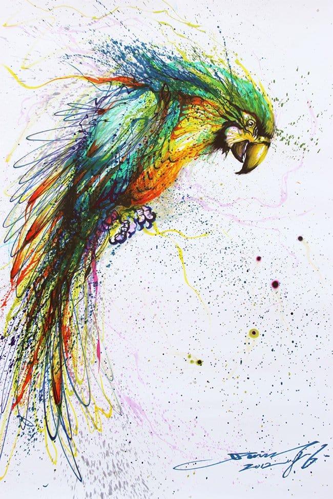 splatter-artist-hua-tunan-parrot