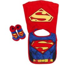 superman caped bib and bootie set
