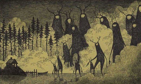 tall black antler monsters