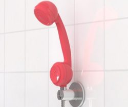 telephone shaped shower head