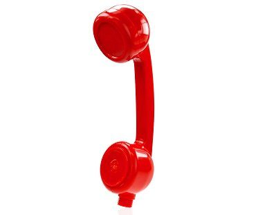 telephone shaped shower head red