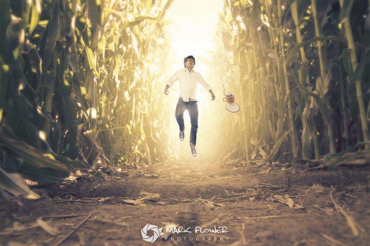 tiny man jumping coffee grass