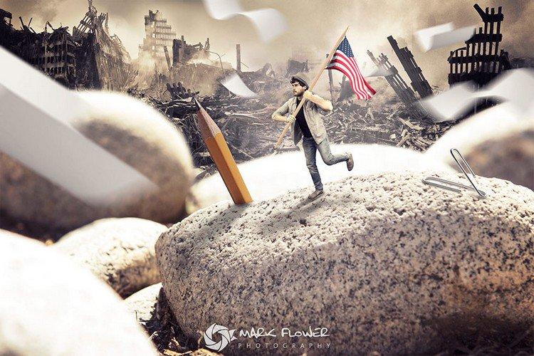 tiny man pencil flag warzone