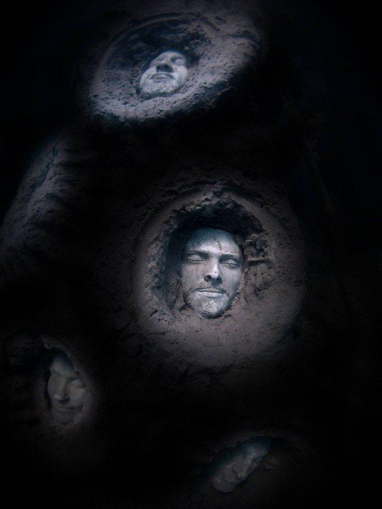 underwater sculpture faces