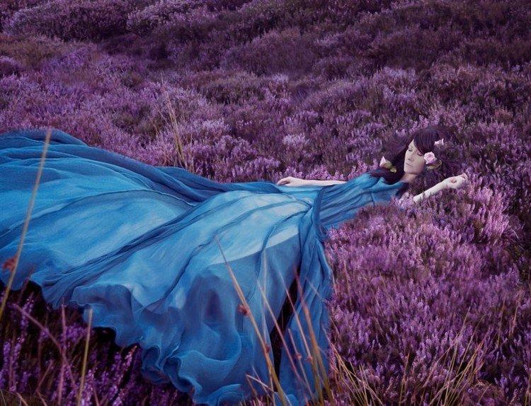 woman blue dress heather