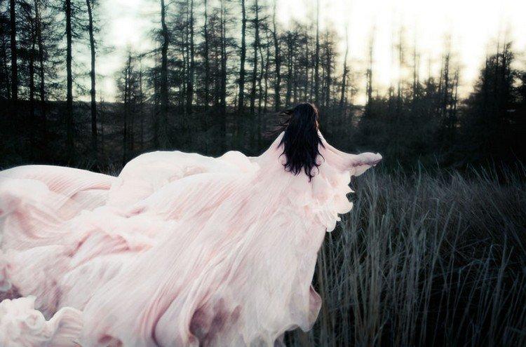 woman pink dress trees