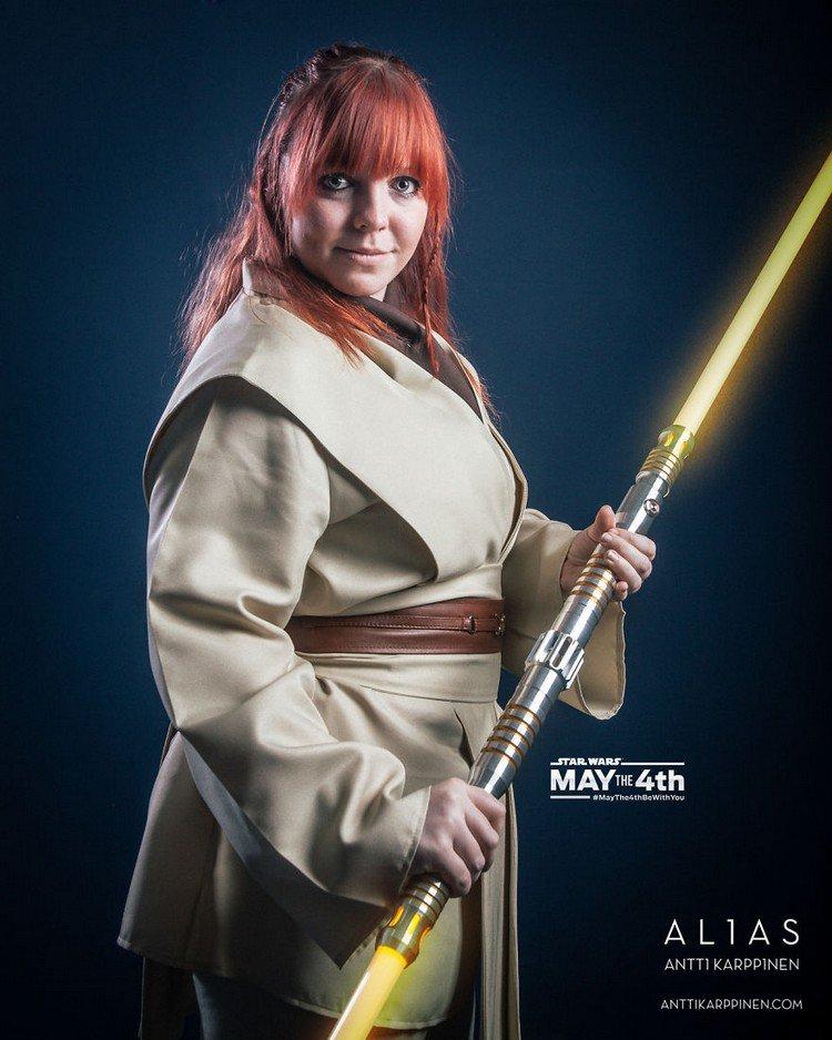 woman yellow light saber