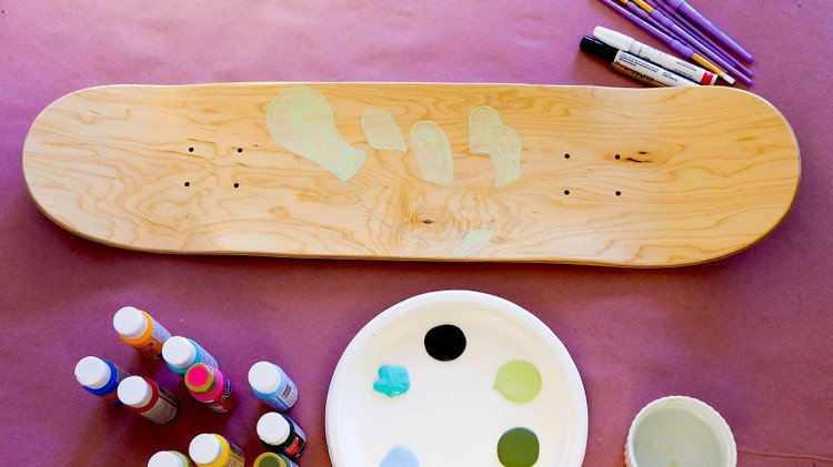 wooden skateboard paints