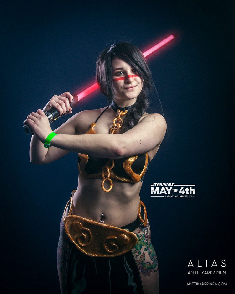 young woman red light saber