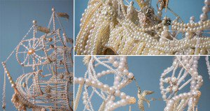 Artist Made Galleons From Old Pearl Necklaces