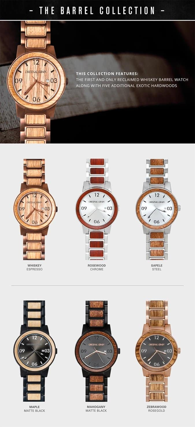 wood w brushed by watch projects steel whiskey handcrafted the watches made sapele barrel originalgrain original