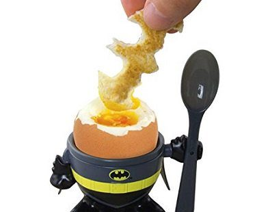 Batman Egg Cup and Toast Cutter dipping