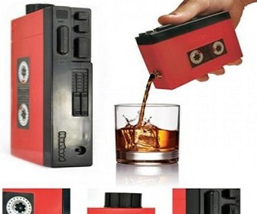 Cassette Player Hip Flask red