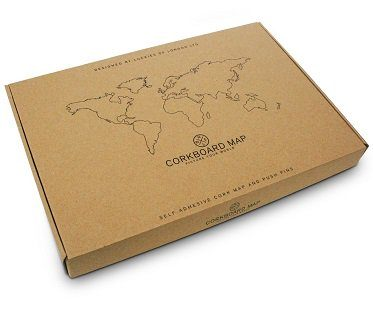 Cork Board World Map travel box