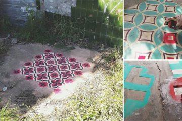 Designer Spray Paints Tile Patterns On Floors