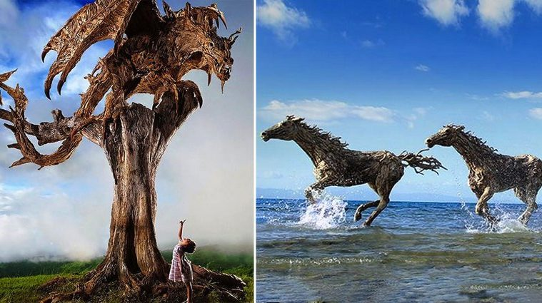 Fantasy Style Driftwood Wild Beasts And Dragons