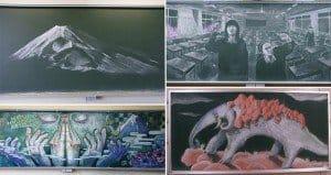 Japanese Students Create Chalkboard Art