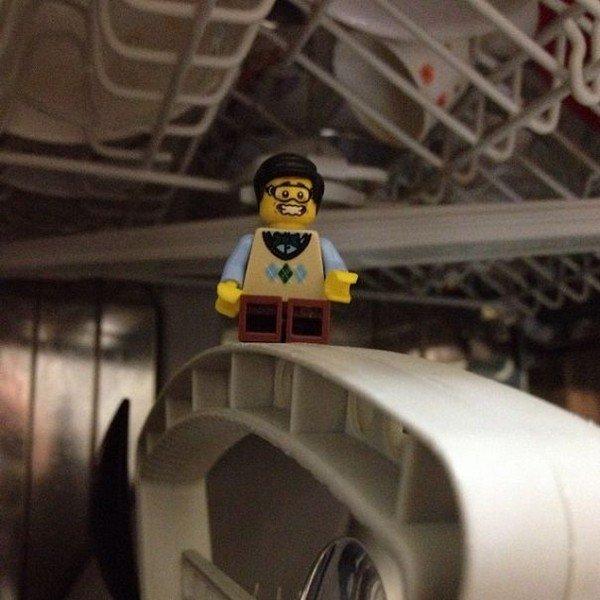 LEGO figure balanced
