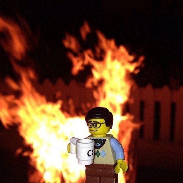 LEGO figure fire