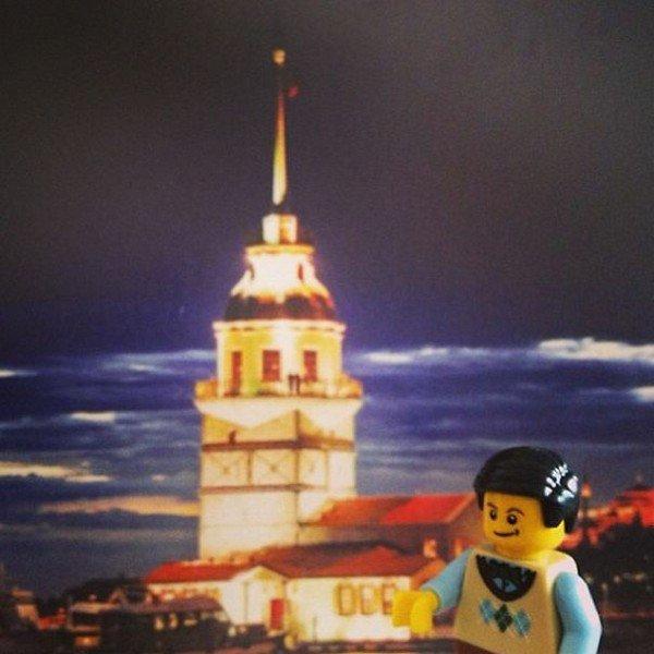 LEGO figure night building