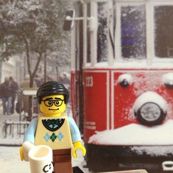 LEGO figure snow transport