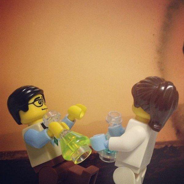 LEGO figures drinking bottles