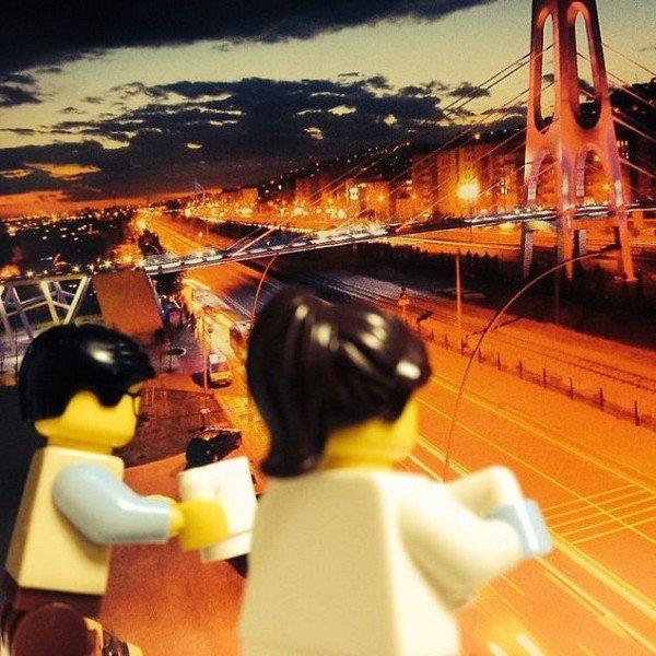 LEGO figures outdoors