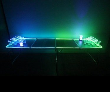 Light Up Beer Pong Set table