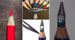 Microscopic Worlds Carved Into Pencil Tips