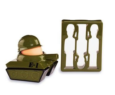 Tank Egg Cup And Soldier Toast Cutter boiled