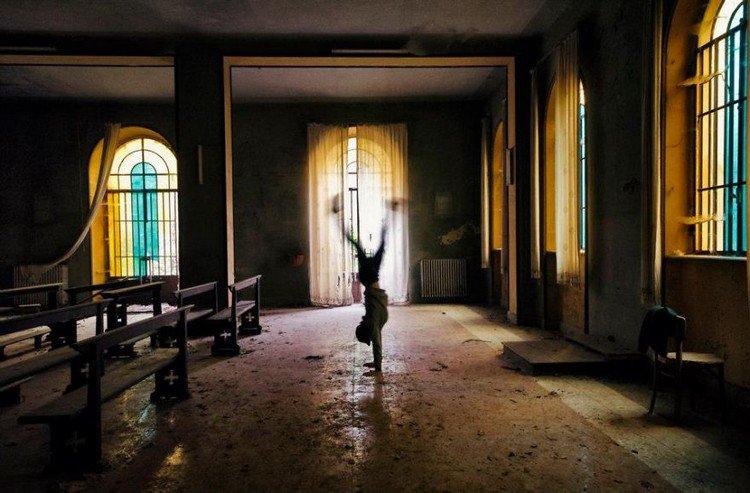abandoned chapel handstand