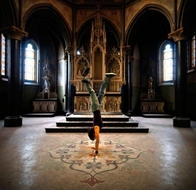 abandoned church handstand