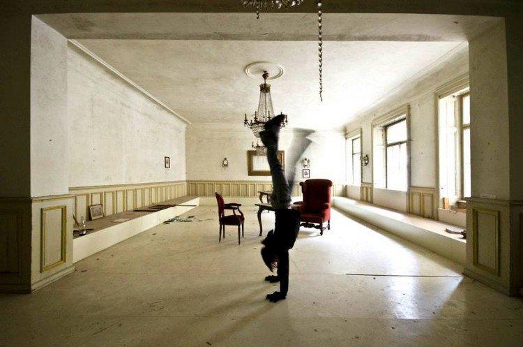 abandoned hotel handstand