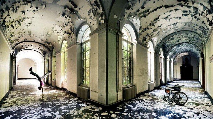 abandoned monastery handstand