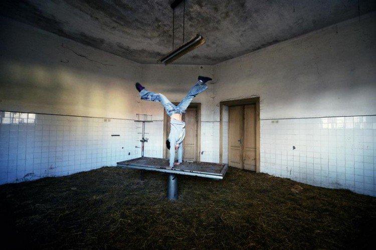 abandoned morgue handstand
