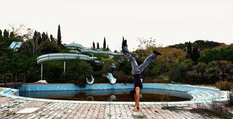 abandoned waterpark handstand