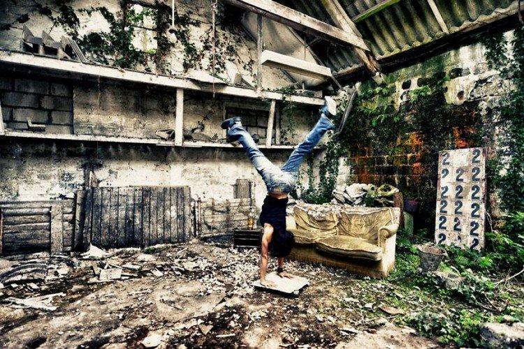 abandoned workshop handstand